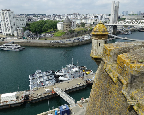 Brest is a port city located in a sheltered bay