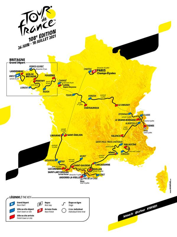The 2021 Tour de France Route